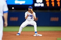 Florida Gators second baseman Blake Reese (12) waits for a throw during a game against the Siena Saints on February 16, 2018 at Alfred A. McKethan Stadium in Gainesville, Florida.  Florida defeated Siena 7-1.  (Mike Janes/Four Seam Images)