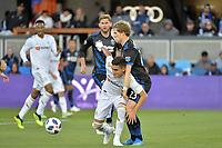 San Jose, CA - Saturday June 09, 2018: Florian Jungwirth, Eduard Atuesta during a Major League Soccer (MLS) match between the San Jose Earthquakes and Los Angeles Football Club at Avaya Stadium.