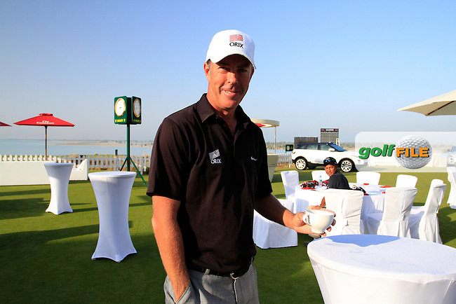 Richard Green (AUS) enjoys a coffee before the start of the Emirates Airlines Invitational Pro-Am 2012  hosted by Abdullah Al Naboodah at Yas Links Golf Course, United Arab Emirates, 30th January 2012 (Photo Eoin Clarke/www.golffile.ie)