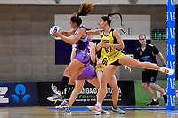 Stars&rsquo; Grace Kara and Pulse&rsquo; Karin Burger in action during the ANZ Premiership - Pulse v Northern Stars at Te Rauparaha Arena, Porirua, New Zealand on Monday 25 June 2018.<br />