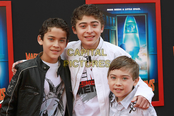 "RYAN, ROBERT & RAYMOND OCHOA.""Mars Needs Moms 3D"" Los Angeles Premiere Held At The EL Capitan Theatre, Hollywood, California, USA..March 6th, 2011.half length black white leather jacket brothers siblings family .CAP/ADM/KB.©Kevan Brooks/AdMedia/Capital Pictures."