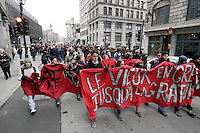 Montreal (QC) CANADA - March 29, 2012 - Students on strike in front of Montreal Palais de Justice