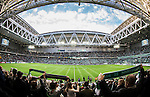 Stockholm 2015-10-25 Fotboll Allsvenskan Hammarby IF - Malm&ouml; FF :  <br /> Vy &ouml;ver Tele2 Arena med publik p&aring; l&auml;ktarna inf&ouml;r matchen mellan Hammarby IF och Malm&ouml; FF <br /> (Foto: Kenta J&ouml;nsson) Nyckelord:  Fotboll Allsvenskan Tele2 Arena Hammarby HIF Bajen Malm&ouml; FF MFF inomhus interi&ouml;r interior supporter fans publik supporters