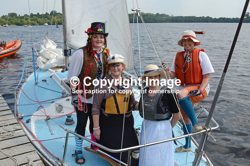 Georgian Day, Lough Erne Yacht Club, Killadeas, Co Fermanagh, N Ireland, UK, 20th July 2013. Winning crew of Jigalo, left to right, Clare Brogan, Catriona McGirr, Nesta Murnaghan, Judie Anderson, in period costume. 201307202732.   <br /> <br /> Copyright Image from Victor Patterson, 54 Dorchester Park, Belfast, UK, BT9 6RJ<br /> <br /> t1: +44 28 9066 1296 (from Rep of Ireland 048 9066 1296)<br /> t2: +44 28 9002 2446 (from Rep of Ireland 048 9002 2446)<br /> m: +44 7802 353836<br /> <br /> e1: victorpatterson@me.com<br /> e2: victorpatterson@gmail.com<br /> <br /> The use of my copyright images is subject to my Terms &amp; Conditions.<br /> <br /> It is IMPORTANT that you familiarise yourself with them. They are available on my website at www.victorpatterson.com.<br /> <br /> None of my copyright images may be used on a website unless they are visibly watermarked, i.e. &copy; Victor Patterson within the body of the visible image. Metadata denoting my copyright must NOT be deleted. <br /> <br /> Web use (maximum size - 400 kb) is extra at currently recommended NUJ rates.