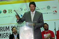 SÃO PAULO, SP - 07.07.2016 - HADDAD-SP - O Prefeito Fernando Haddad durante abertura do VII Fórum Social Mundial de Migrações, no Centro Esportivo e de Lazer Tietê, na região central da capital nesta quinta-feira,07. (Foto: Eduardo Martins/ Brazil Photo Press)