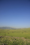Israel, Upper Galilee, a view of the Golan Heights from Givat Ha'em (Haem Hill)