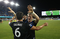 SAN JOSE, CA - AUGUST 24: Shea Salinas #6 and Florian Jungwirth #23 of the San Jose Earthquakes celebrate after a Major League Soccer (MLS) match between the San Jose Earthquakes and the Vancouver Whitecaps FC  on August 24, 2019 at Avaya Stadium in San Jose, California.