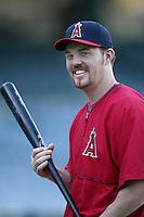Scott Spiezio of the Los Angeles Angels before a 2002 MLB season game at Angel Stadium, in Anaheim, California. (Larry Goren/Four Seam Images)
