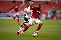 7th July 2020; City Ground, Nottinghamshire, Midlands, England; English Championship Football, Nottingham Forest versus Fulham; Alfa Semedo of Notts Forest goes past on the ball from Tim Ream of Fulham