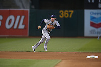 OAKLAND, CA - MAY 30:  Matt Duffy #5 of the Tampa Bay Rays plays defense at third base against the Oakland Athletics during the game at the Oakland Coliseum on Wednesday, May 30, 2018 in Oakland, California. (Photo by Brad Mangin)