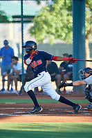 AZL Indians Red Jordan Brown (32) at bat during an Arizona League game against the AZL Padres 1 on June 23, 2019 at the Cleveland Indians Training Complex in Goodyear, Arizona. AZL Indians Red defeated the AZL Padres 1 3-2. (Zachary Lucy/Four Seam Images)