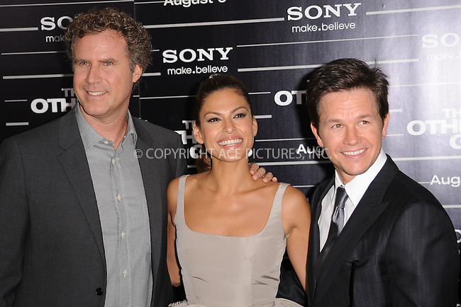 WWW.ACEPIXS.COM . . . . . .August 2, 2010, New York City....Will Ferrell , Eva Mendes, and Mark Wahlberg at The New York premiere of 'The Other Guys' at the Ziegfeld Theatre on August 2, 2010 in New York City....Please byline: KRISTIN CALLAHAN - ACEPIXS.COM.. . . . . . ..Ace Pictures, Inc: ..tel: (212) 243 8787 or (646) 769 0430..e-mail: info@acepixs.com..web: http://www.acepixs.com .