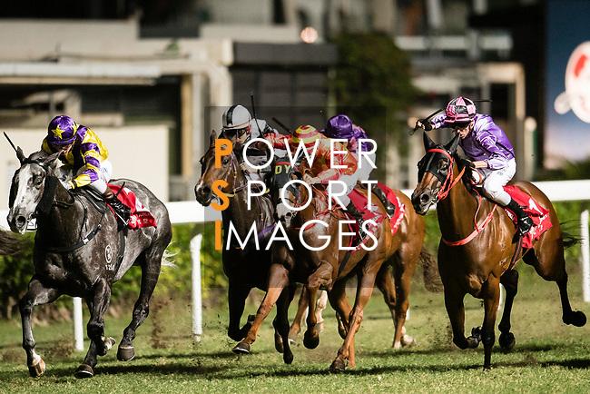 Jockey #7 Nash Rawiller ((L) riding Who Else But You during the race 7 of during Hong Kong Racing at Happy Valley Race Course on November 08, 2017 in Hong Kong, China. Photo by Marcio Rodrigo Machado / Power Sport Images