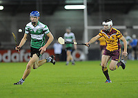 24th October 2013;  Kevin Fitzgerald, Lucan Sarsfields, in action against Stephen McDonald, Craobh Chiarain. Dublin County Senior Hurling Championship Semi-Final, Craobh Chiarain v Lucan Sarsfields, Parnell Park, Dublin. Picture credit: Tommy Grealy / actionshots.ie