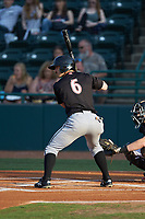 Ian Dawkins (6) of the Kannapolis Intimidators at bat against the Hickory Crawdads at L.P. Frans Stadium on July 20, 2018 in Hickory, North Carolina. The Crawdads defeated the Intimidators 4-1. (Brian Westerholt/Four Seam Images)