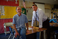 Oceano, California, November 1, 2011 - A portrait of Lloyd Walzer(left), President of Lucia Mar Unified Teachers Association and Jim Hogeboom, Superintendent for Lucia Mar Unified School District at the Oceano Elementary School. As a part of an effort to help bridge some of the contrasts in school performance here, the 10,800-student school district of Lucia Mar recently became the first in California to adopt, in four of its schools, the Teacher Advancement Program (TAP) school-reform initiative. The complex model couples professional development, teacher observations keyed to a set of teaching standards and  leadership opportunities for teachers. .