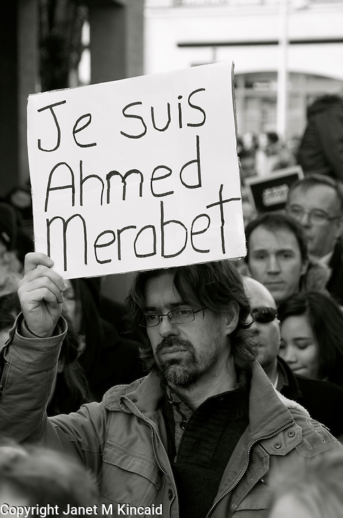 JeSuisCharlie Demonstration on Sunday, 11 January 2015 in Ferney-Voltaire, France. A demonstration for freedom of expression, against terrorism, hatred, and bigotry, and in solidarity with those who died.