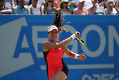 June 17th 2017, Nottingham, England;WTA Aegon Nottingham Open Tennis Tournament day 6;  Hair raising shot from Johanna Konta of Great Britain in her match against Magdalena Rybarikova of The Slovak Republic