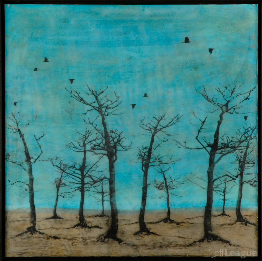 Mixed media encaustic photo transfer of bare trees in turquoise sky by Florida artist Jeff League.