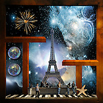 A surreal assemblage featuring the Eiffel Tower at the next millenium.