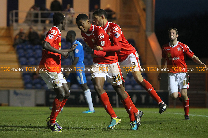 Delight for Chuks Aneke after scoring the equalising goal for Crewe - Colchester United vs Crewe Alexandra - Sky Bet League One Football at the Weston Homes Community Stadium, Colchester, Essex - 29/12/13 - MANDATORY CREDIT: Gavin Ellis/TGSPHOTO - Self billing applies where appropriate - 0845 094 6026 - contact@tgsphoto.co.uk - NO UNPAID USE