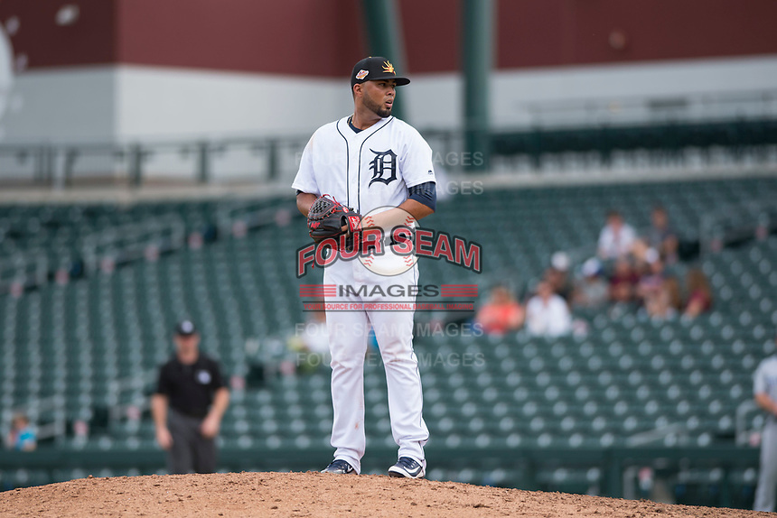 Mesa Solar Sox relief pitcher Eduardo Jimenez (66), of the Detroit Tigers organization, gets ready to deliver a pitch during an Arizona Fall League game against the Peoria Javelinas at Sloan Park on October 11, 2018 in Mesa, Arizona. Mesa defeated Peoria 10-9. (Zachary Lucy/Four Seam Images)
