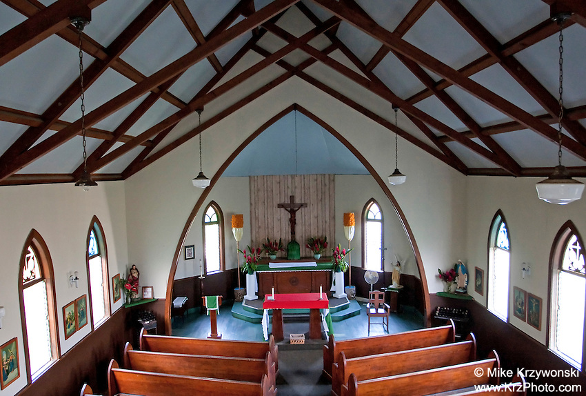 Inside of St. Gabriel's Church on the Wailua Peninsula on the Road to Hana, Maui