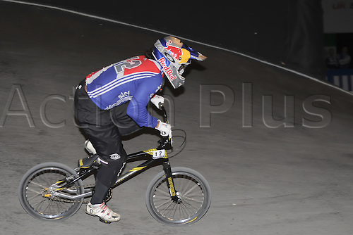 05.26.2012. England, Birmingham, National Indoor Arena. UCI BMX World Championships. Shanaze READE in action for GB at the NIA