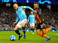 Manchester City's David Silva gets past Shakhtar Donetsk's Maycon<br /> <br /> Photographer Alex Dodd/CameraSport<br /> <br /> UEFA Champions League Group F - Manchester City v Shakhtar Donetsk - Wednesday 7th November 2018 - City of Manchester Stadium - Manchester<br />  <br /> World Copyright &copy; 2018 CameraSport. All rights reserved. 43 Linden Ave. Countesthorpe. Leicester. England. LE8 5PG - Tel: +44 (0) 116 277 4147 - admin@camerasport.com - www.camerasport.com