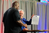 August 9, 2017: Robert Kraft, owner of the New England Patriots and Vince Wilfork sign a one day contract at Wilfork's retirement announcement held at the Optum Field Lounge, in Gillette Stadium, in Foxborough, Mass. The contract allowed Wilfork to retire a Patriot where he played for eleven seasons.