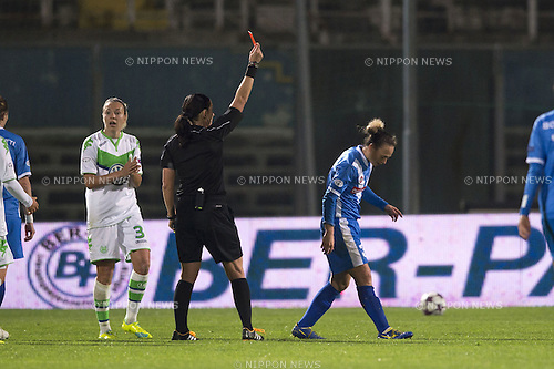 Olga Zadinova (Referee), Roberta D'Adda (Brescia), MARCH 30, 2016 - Football / Soccer : Roberta D'Adda (R) of Brescia is shown a res card by referee Olga Zadinova during the UEFA Women's Champions League Quarter-final 2nd leg match between ACF Brescia 0-3 VfL Wolfsburg at Stadio Mario Rigamonti in Brescia, Italy. (Photo by Maurizio Borsari/AFLO)