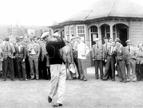 06.07.1953. Carnoustie, Scotland. Ben Hogan, American golfer, drives off during the qualifying rounds of the Open Golf Championships at Carnoustie in Scotland.