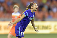 Alex Morgan (13) of the Orlando Pride complains to the referee about a foul in a game against the Houston Dash on Friday, May 20, 2016 at BBVA Compass Stadium in Houston Texas. The Orlando Pride defeated the Houston Dash 1-0.