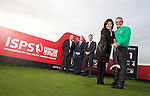 ISPS Handa Wales Open Announcement at the Celtic Manor Resort..Paul McGinley gives a pointer to Midori Miyazaki of new sponsor ISPS watched by, left to right, Richard Hills, Ryder Cup Director, The European Tour; Dylan Matthews, Chief Executive, Celtic Manor Resort; and Andrew White, Chief Executive, WSM Communications..28.11.11.©Steve Pope