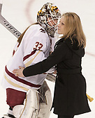 Katie Burt (BC - 33), Erin Hamlen (Merrimack - Head Coach) - The number one seeded Boston College Eagles defeated the eight seeded Merrimack College Warriors 1-0 to sweep their Hockey East quarterfinal series on Friday, February 24, 2017, at Kelley Rink in Conte Forum in Chestnut Hill, Massachusetts.The number one seeded Boston College Eagles defeated the eight seeded Merrimack College Warriors 1-0 to sweep their Hockey East quarterfinal series on Friday, February 24, 2017, at Kelley Rink in Conte Forum in Chestnut Hill, Massachusetts.