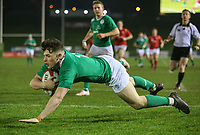 Ireland U20's Calvin Nash goes over for the first try of the game<br /> <br /> Photographer Alex Dodd/CameraSport<br /> <br /> RBS Six Nations U20 Championship Round 4 - Wales U20s v Ireland U20s - Saturday 11th March 2017 - Parc Eirias, Colwyn Bay, North Wales<br /> <br /> World Copyright &copy; 2017 CameraSport. All rights reserved. 43 Linden Ave. Countesthorpe. Leicester. England. LE8 5PG - Tel: +44 (0) 116 277 4147 - admin@camerasport.com - www.camerasport.com