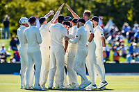 Stuart Broad celebrates the wicket of Ross Taylor with team mates during Day 2 of the Second International Cricket Test match, New Zealand V England, Hagley Oval, Christchurch, New Zealand, 31th March 2018.Copyright photo: John Davidson / www.photosport.nz