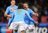 FUSSBALL   CHAMPIONS LEAGUE   SAISON 2011/2012   21.02.2012 SSC Neapel - Chelsea  FC Ezequiel Lavezzi (re.) mit Edinson Cavani (Neapel)