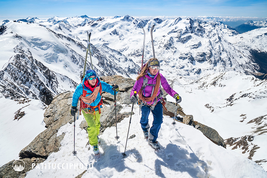 The Ortler Group in northern Italy is a popular region for spring ski touring using the huts for overnights to ski all the many peaks in the mountain group. The summit of Monte Cevadale, 3769 meters.