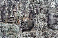 Carved stone face at Bayon Temple, Angkor Wat (Licence this image exclusively with Getty: http://www.gettyimages.com/detail/85071259 )
