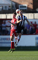 Craig Disley of Grimsby Town beats Matty Pearson of Accrington Stanley to  a midfield header<br /> during the Sky Bet League 2 match between Accrington Stanley and Grimsby Town at the Fraser Eagle Stadium, Accrington, England on 25 March 2017. Photo by Tony  KIPAX / PRiME Media Images.