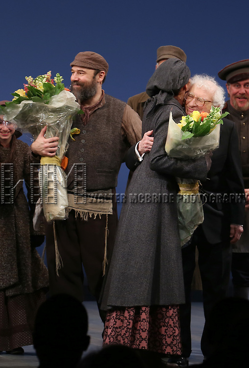 Danny Burstein, Jessica Hechy and Sheldon Harnick during the Broadway Opening Night Performance Curtain Call bows for 'Fiddler On The Roof'  at the Broadway Theatre on December 20, 2015 in New York City.