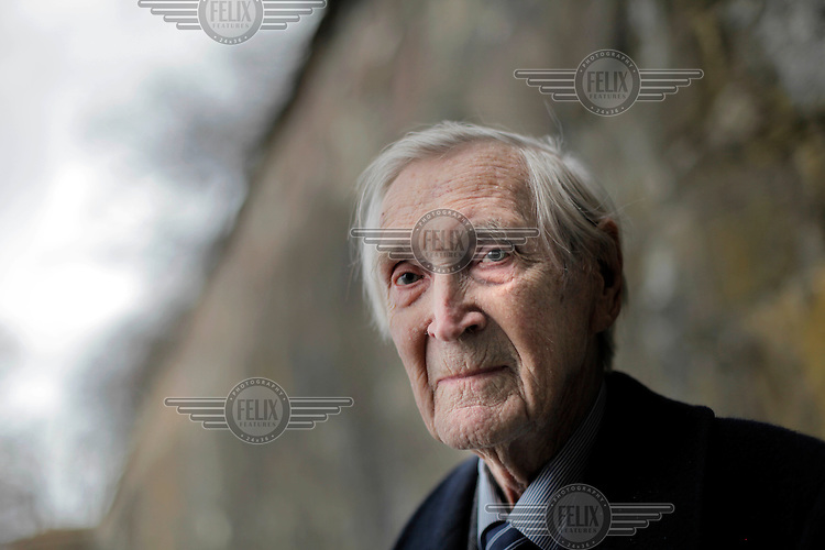 Gunnar Fridtjof Thurmann Sønsteby DSO (born 11 January 1918) was a member of the Norwegian resistance movement during the German occupation of Norway in World War II. He is also known for being the most highly decorated person in Norway, including being the only one to have been awarded the War Cross with three swords. Photographed at Akershus Castle in Oslo. Sønsteby died April 10, 2012.