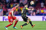 Bruno Fernandes of Sporting CP (R) fights for the ball with Juan Francisco Torres Belen, Juanfran, of Atletico de Madrid (L) during the UEFA Europa League quarter final leg one match between Atletico Madrid and Sporting CP at Wanda Metropolitano on April 5, 2018 in Madrid, Spain. Photo by Diego Souto / Power Sport Images