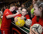 Wales Bethan Dyke signs an autograph<br /> <br /> Swansea University International Netball Test Series: Wales v New Zealand<br /> Ice Arena Wales<br /> 08.02.17<br /> &copy;Ian Cook - Sportingwales