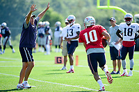August 1, 2017: New England Patriots head coach Bill Belichick makes himself an obstacle against quarterback Jimmy Garoppolo (10) at the New England Patriots training camp held at Gillette Stadium, in Foxborough, Massachusetts. Eric Canha/CSM