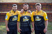 From left, James Marshall, Dane Coles and Beauden Barrett with the new strip. Hurricanes rugby jersey promotion at Rugby League Park, Wellington, New Zealand on Thursday, 10 March 2016. Photo: Dave Lintott / lintottphoto.co.nz