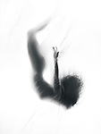 Surreal fine art photo of a woman silhouette falling down into white fog of a dream behind a veil