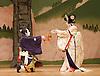 Kabuki <br /> featuring Ebizo Ichikawa XI<br /> at Sadler's Wells, London, Great Britain <br /> rehearsal <br /> 3rd June 2010 <br /> <br /> Ichikawa Ebizo (as Sato Tadanobu / the fox Genkuro)<br /> <br /> Nakamura Shibajaku (as Shizauka)<br /> <br /> Photograph by Elliott Franks