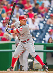 21 May 2014: Cincinnati Reds third baseman Todd Frazier in action against the Washington Nationals at Nationals Park in Washington, DC. The Reds edged out the Nationals 2-1 to take the rubber match of their 3-game series. Mandatory Credit: Ed Wolfstein Photo *** RAW (NEF) Image File Available ***